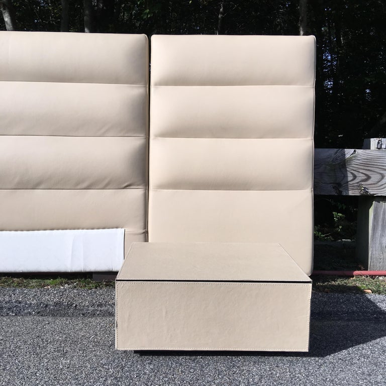 Fendi Casa Leather King 'or Queen' Size Headboard with Integrated Nightstands For Sale 4