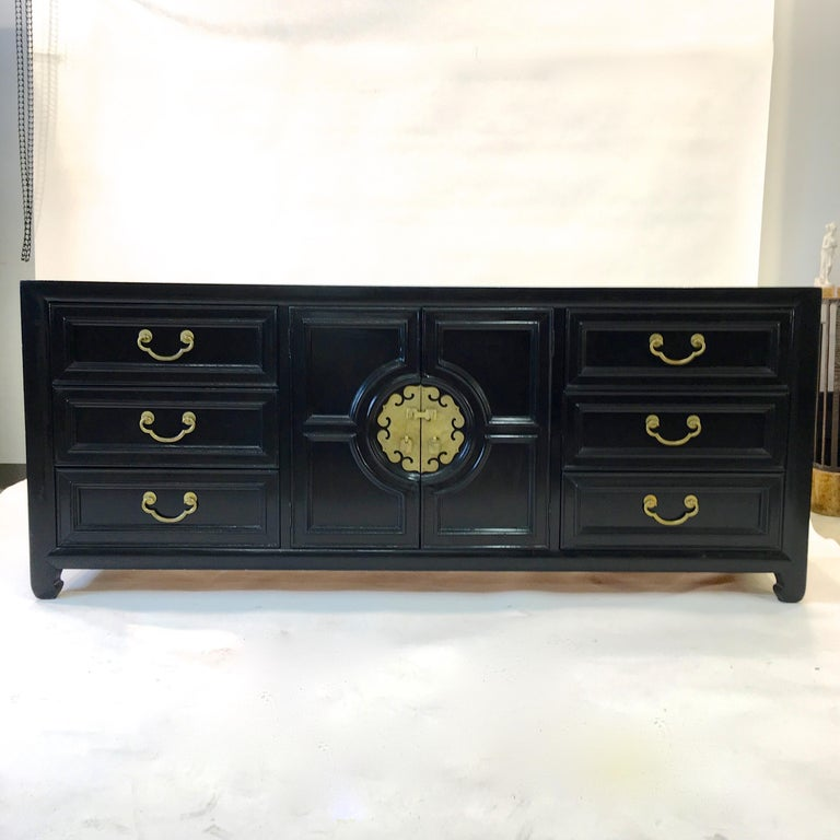 Hollywood Regency Asian Modern Motif Long Low Chest by Century Furniture For Sale 14