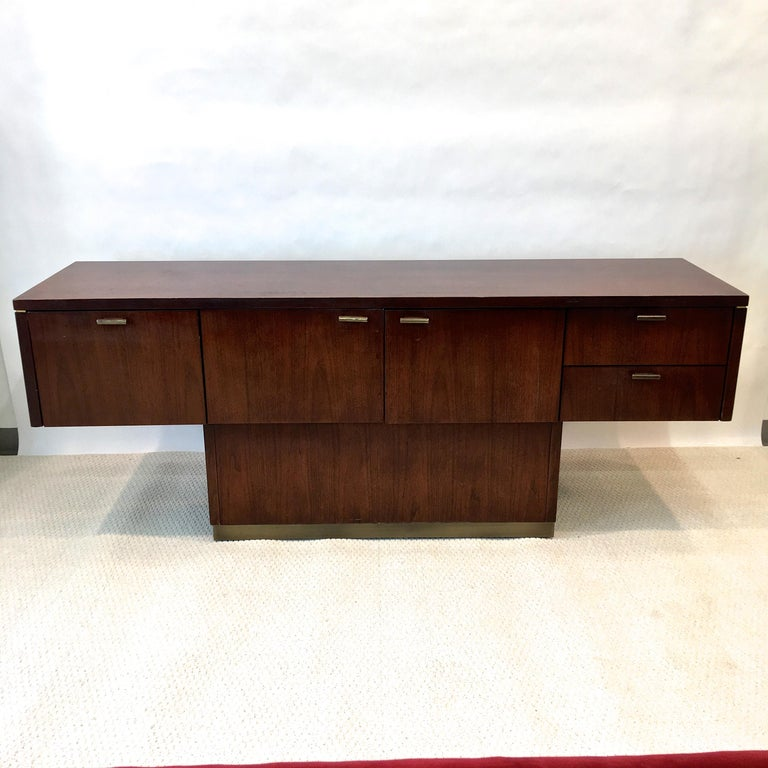 American Platner Inspired Walnut and Bronze Floating Credenza For Sale