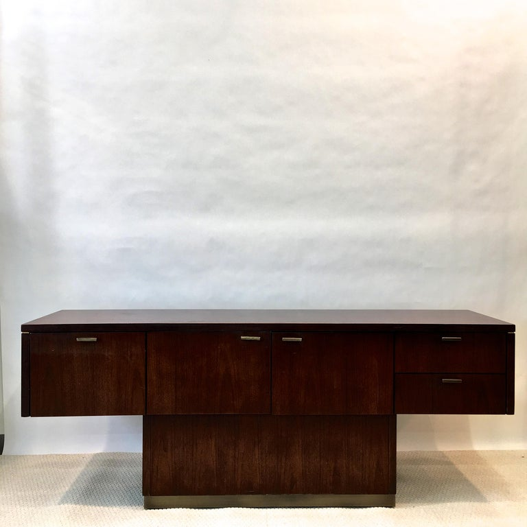 Late 20th Century Platner Inspired Walnut and Bronze Floating Credenza For Sale