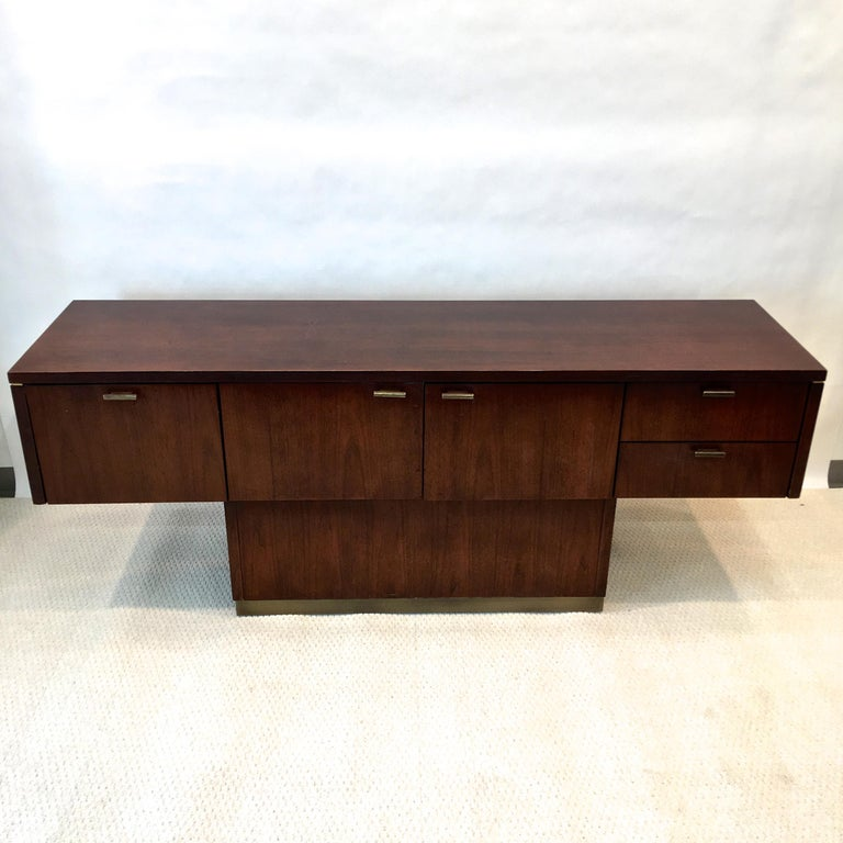 Platner Inspired Walnut and Bronze Floating Credenza For Sale 3