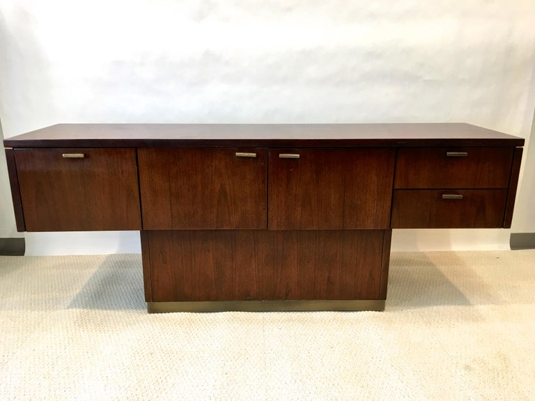 Platner Inspired Walnut and Bronze Floating Credenza For Sale 4