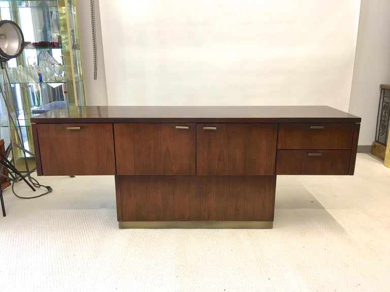 Platner Inspired Walnut and Bronze Floating Credenza For Sale 5