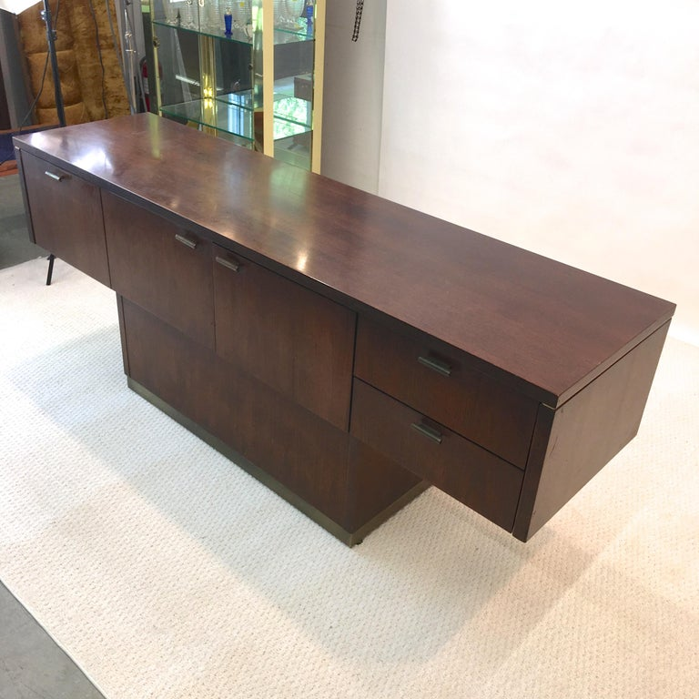 Platner Inspired Walnut and Bronze Floating Credenza For Sale 6