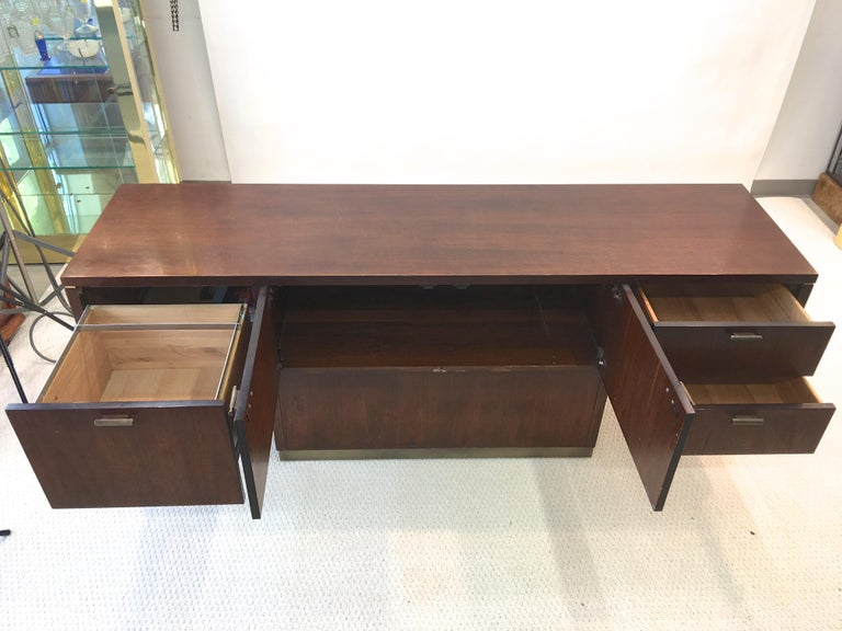 Platner Inspired Walnut and Bronze Floating Credenza For Sale 8