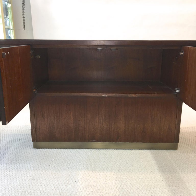 Platner Inspired Walnut and Bronze Floating Credenza For Sale 9