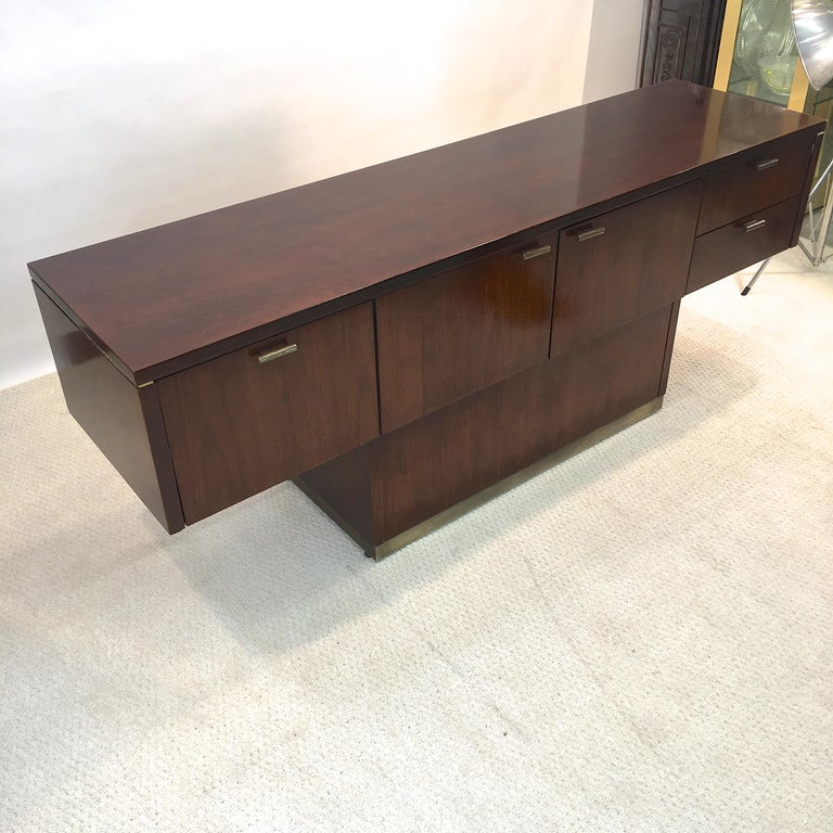 Brass Platner Inspired Walnut and Bronze Floating Credenza For Sale