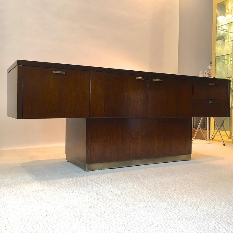 Mid-Century Modern Platner Inspired Walnut and Bronze Floating Credenza For Sale