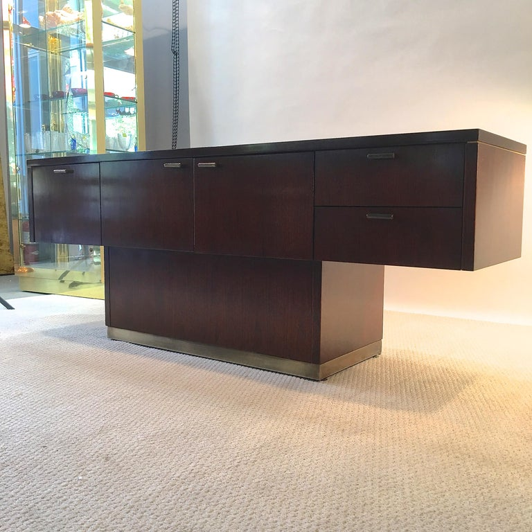 Platner Inspired Walnut and Bronze Floating Credenza In Good Condition For Sale In Hingham, MA
