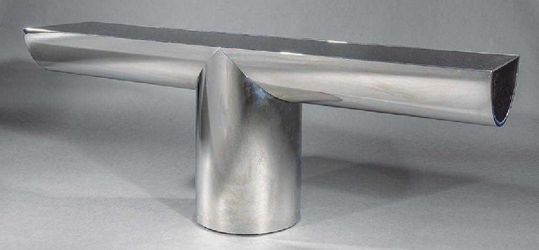 Mid-Century Modern J. Wade Beam for Breuton Stainless Steel and Glass