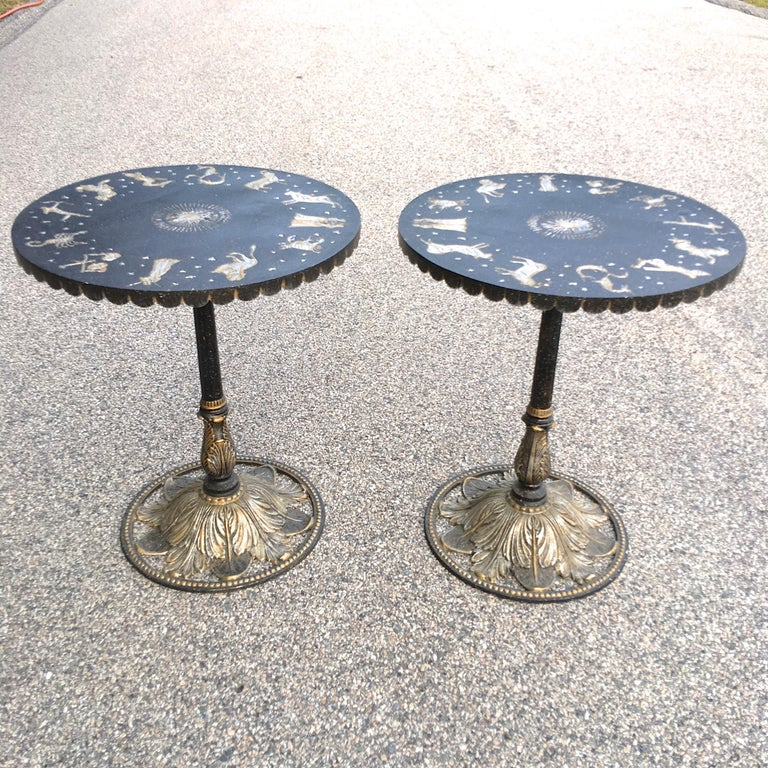 French Pair of Art Deco Zodiac Patinated Metal Tables For Sale