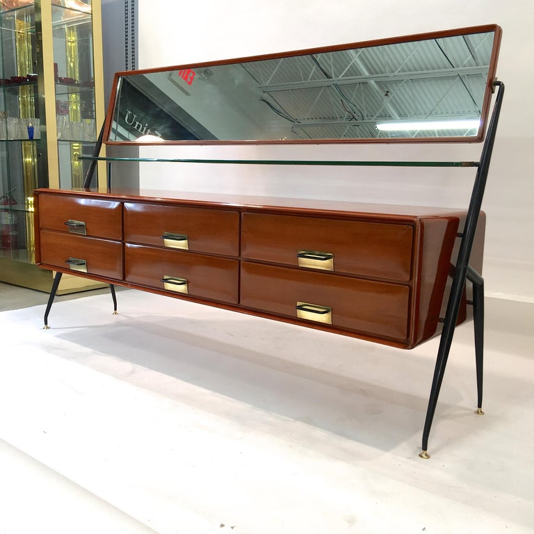 Mid-Century Modern Silvio Cavatorta Mahogany Cabinet Mounted with Tilting Mirror For Sale