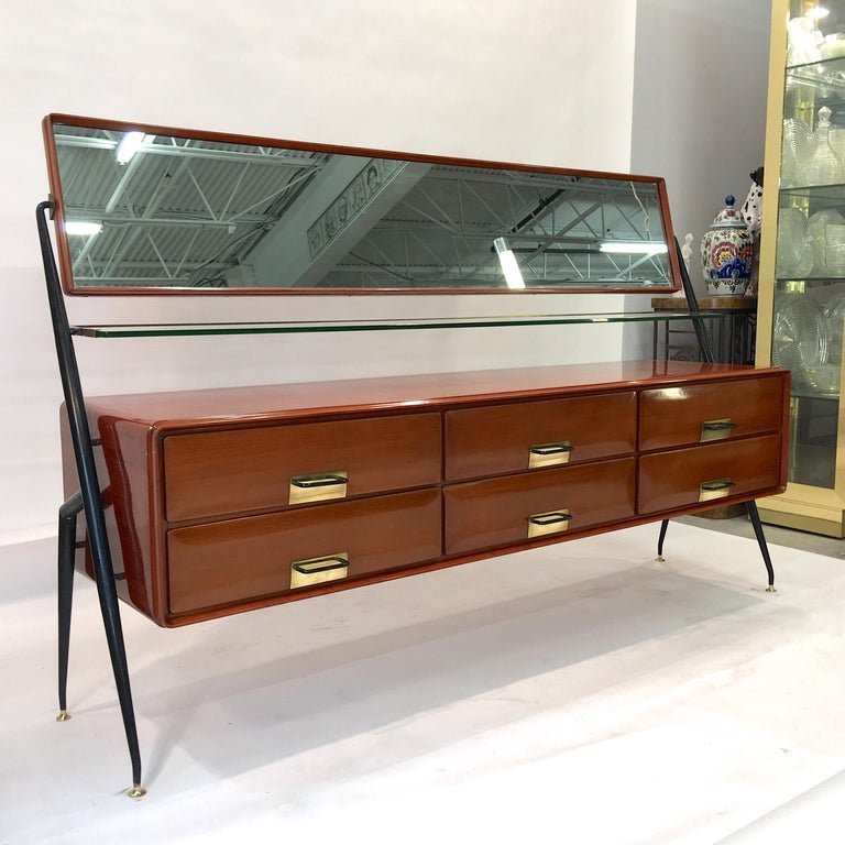 Italian Silvio Cavatorta Mahogany Cabinet Mounted with Tilting Mirror For Sale