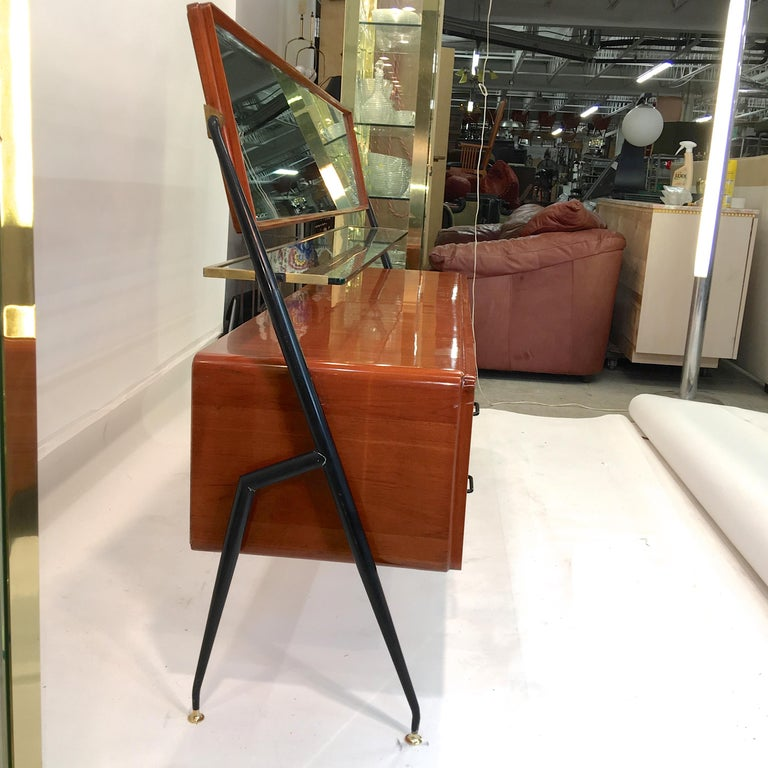 Enameled Silvio Cavatorta Mahogany Cabinet Mounted with Tilting Mirror For Sale
