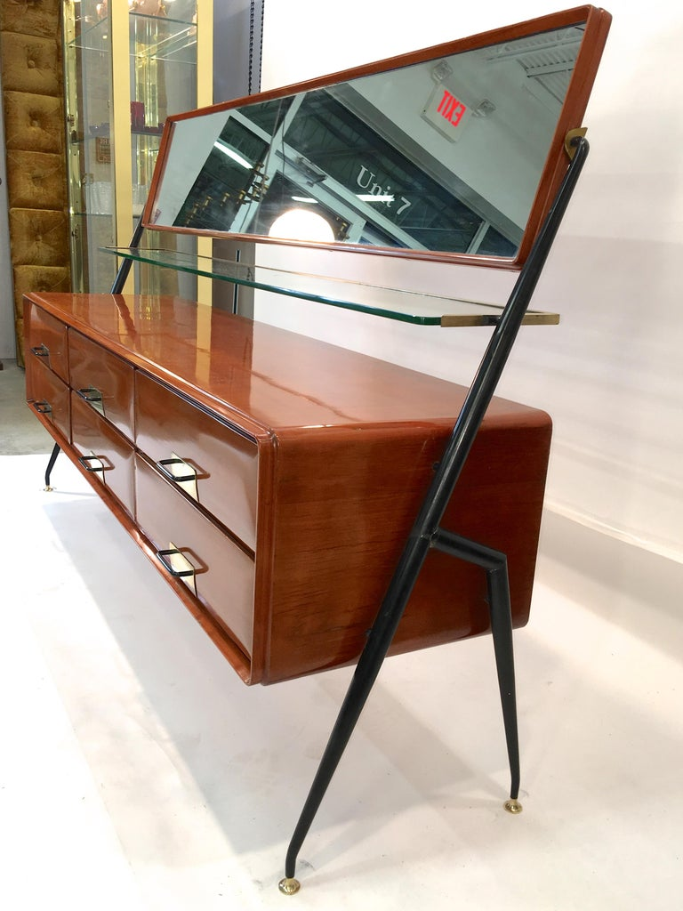 Silvio Cavatorta Mahogany Cabinet Mounted with Tilting Mirror In Good Condition For Sale In Hingham, MA
