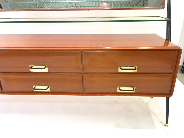 Brass Silvio Cavatorta Mahogany Cabinet Mounted with Tilting Mirror For Sale