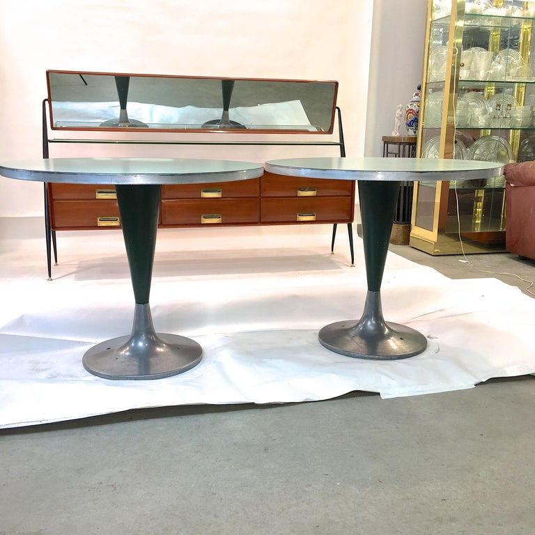 Mid-Century Modern Vintage Brunswick Bowling Centre Pedestal Tables For Sale