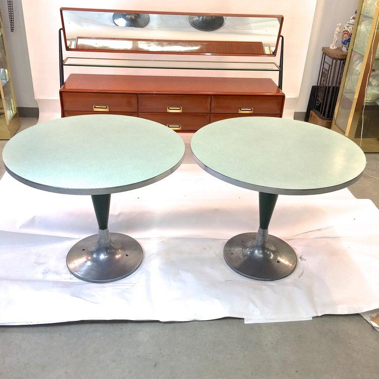 Enameled Vintage Brunswick Bowling Centre Pedestal Tables For Sale