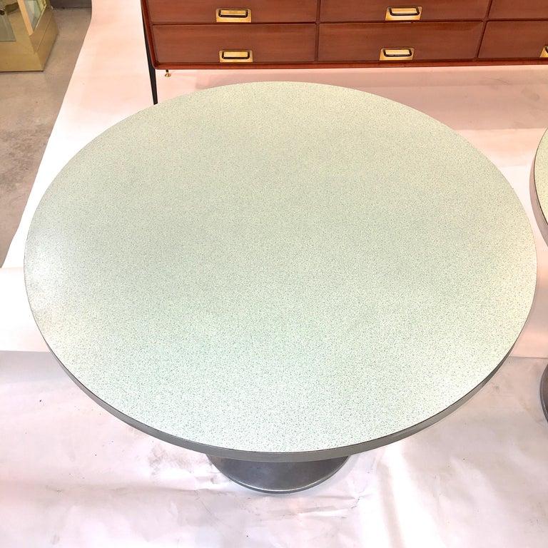 Aluminum Vintage Brunswick Bowling Centre Pedestal Tables For Sale