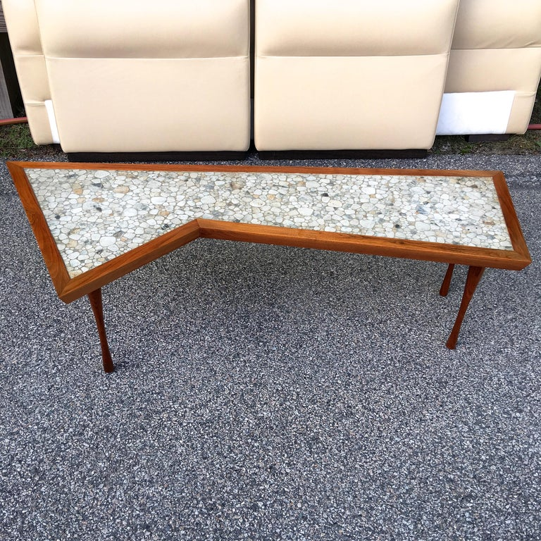 Mid-Century Modern John Rothschild 1965 Signed Walnut Geometric Cocktail Table with Stoneware Tiles For Sale