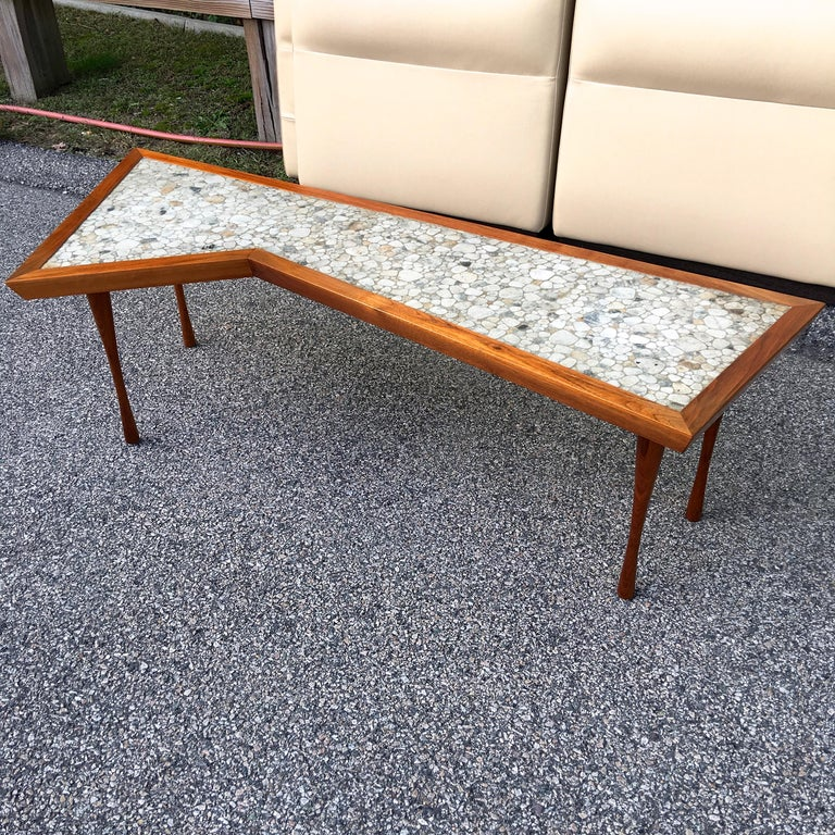 American John Rothschild 1965 Signed Walnut Geometric Cocktail Table with Stoneware Tiles For Sale