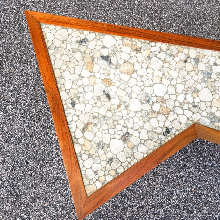 John Rothschild 1965 Signed Walnut Geometric Cocktail Table with Stoneware Tiles In Good Condition For Sale In Hingham, MA