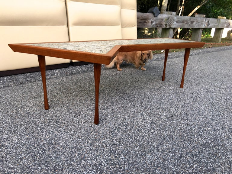 John Rothschild 1965 Signed Walnut Geometric Cocktail Table with Stoneware Tiles For Sale 5