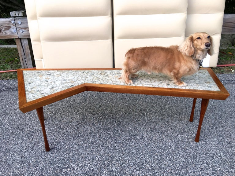 John Rothschild 1965 Signed Walnut Geometric Cocktail Table with Stoneware Tiles For Sale 6