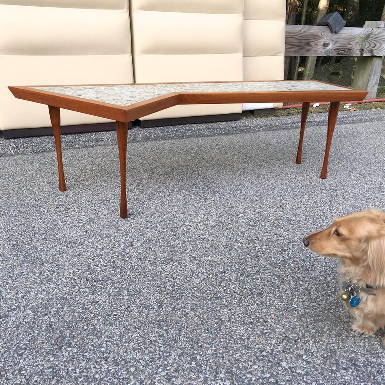 John Rothschild 1965 Signed Walnut Geometric Cocktail Table with Stoneware Tiles For Sale 7