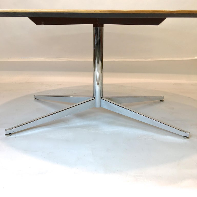 American Florence Knoll Elliptical Oval Oak Table on Chrome X Base For Sale