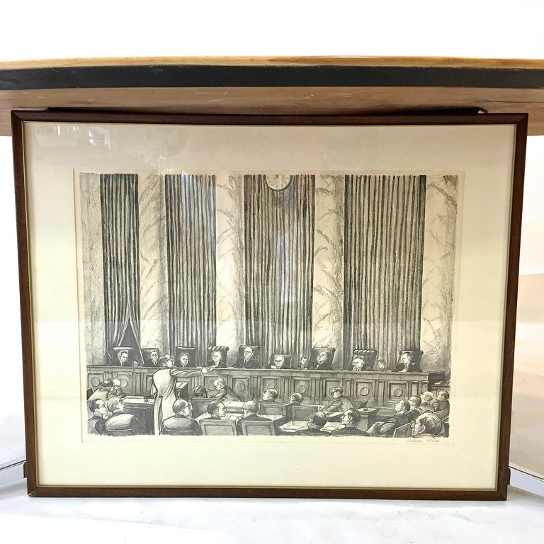 An original framed and matted lithograph by William Sharp of the Supreme Court of the United States circa 1960. Signed.  William Sharp, 1900 - 1961  Justices: Charles Evans Whittaker, 1901 - 1973 John Marshall Harlan, Jr., 20 May 1899 - 29 Dec