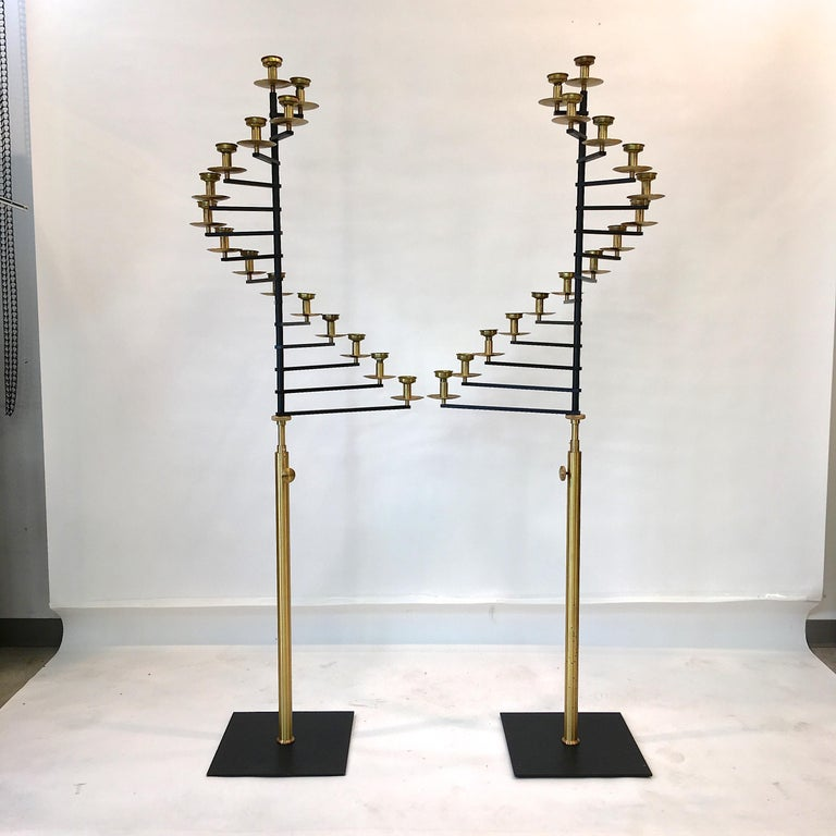 Mid-Century Modern Pair of Brass Helical Floor Candelabra For Sale
