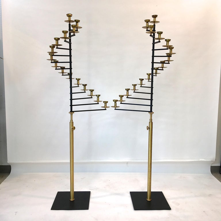 American Pair of Brass Helical Floor Candelabra For Sale