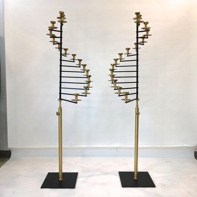 Pair of Brass Helical Floor Candelabra In Good Condition For Sale In Hingham, MA