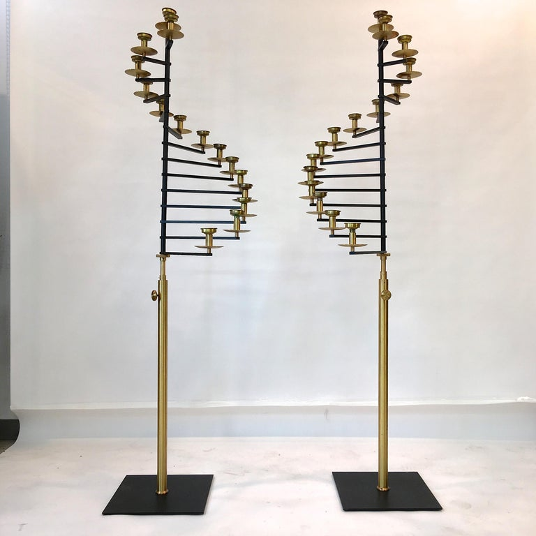 Mid-20th Century Pair of Brass Helical Floor Candelabra For Sale