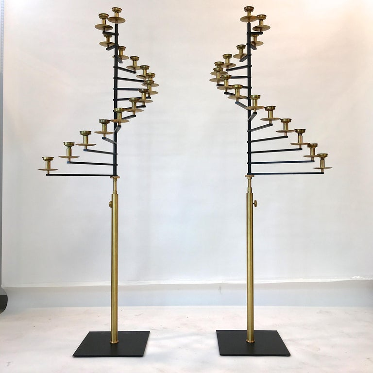 Pair of Brass Helical Floor Candelabra For Sale 1