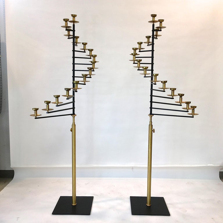 Pair of Brass Helical Floor Candelabra For Sale 2