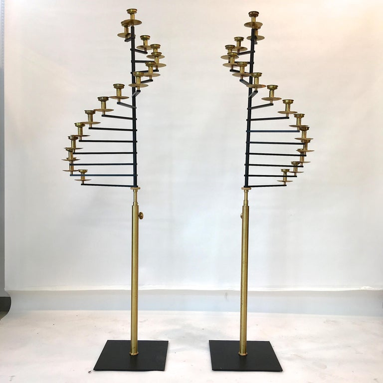 Pair of Brass Helical Floor Candelabra For Sale 3