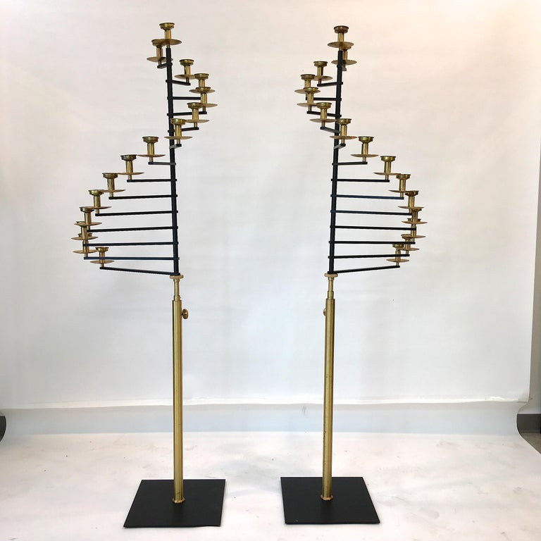 Pair of Brass Helical Floor Candelabra For Sale 4