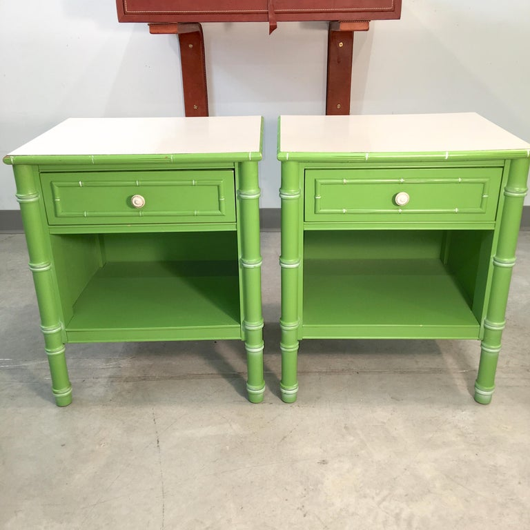 Pair of Hollywood Regency Green Bamboo Nightstands For Sale 1