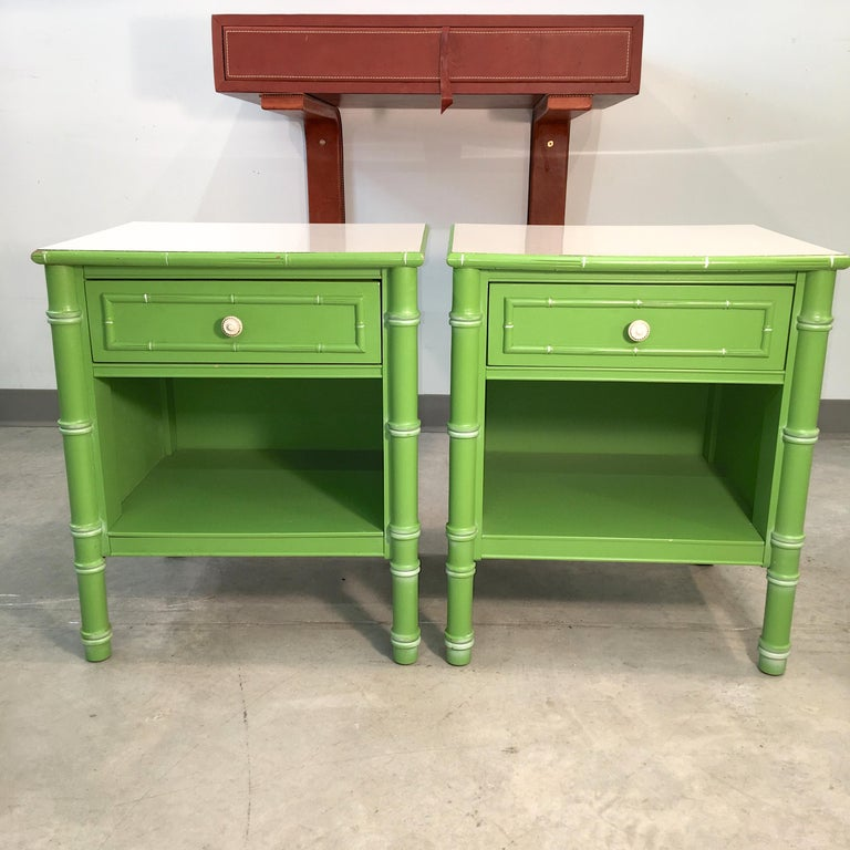 Pair of Hollywood Regency Green Bamboo Nightstands For Sale 2