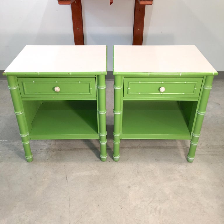 Pair of Hollywood Regency Green Bamboo Nightstands For Sale 3