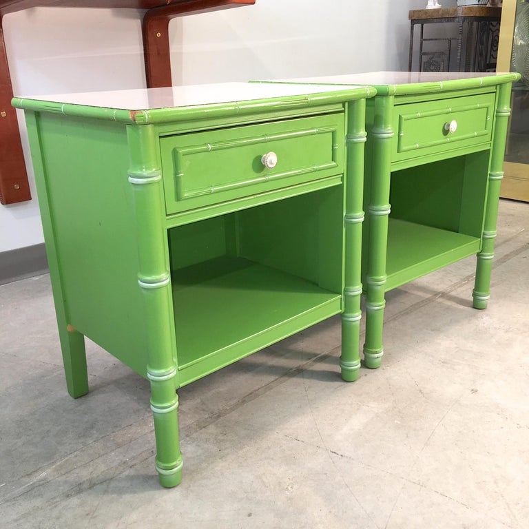 Pair of Hollywood Regency Green Bamboo Nightstands For Sale 4