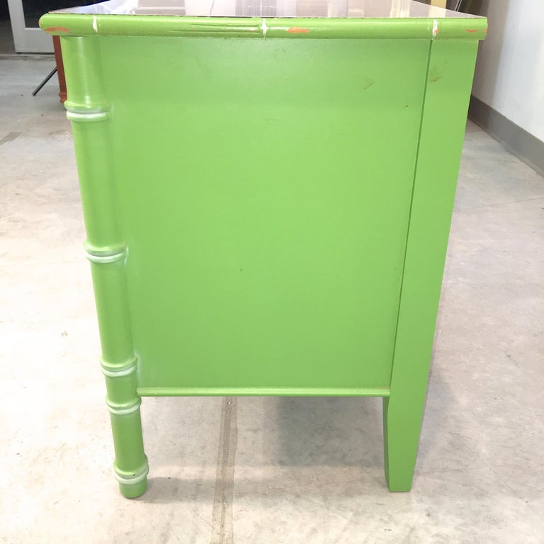 Pair of Hollywood Regency Green Bamboo Nightstands For Sale 6