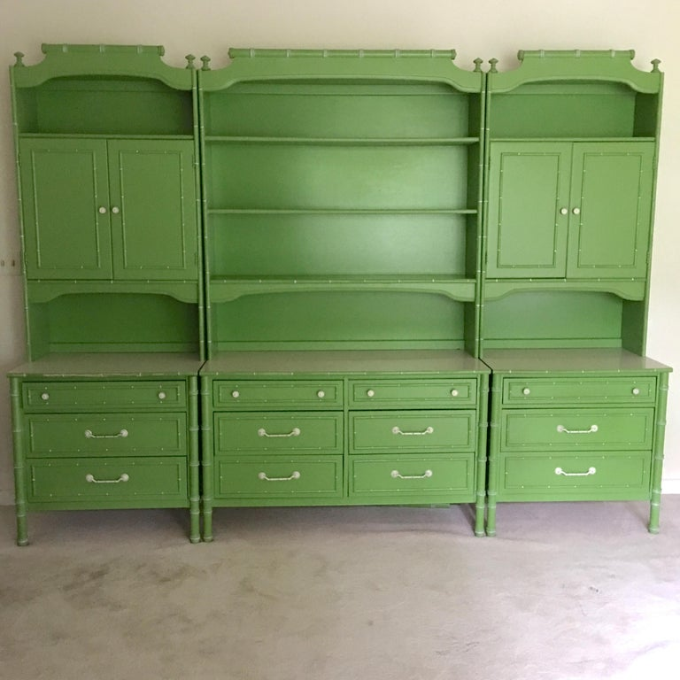 Pair of Hollywood Regency Green Bamboo Nightstands For Sale 8