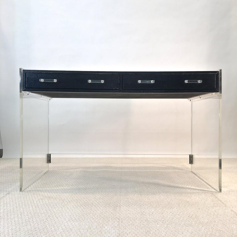 Mid-Century Modern Wycombe Meyer 1970s Lucite and Black Lizard Writing Table and Chair For Sale
