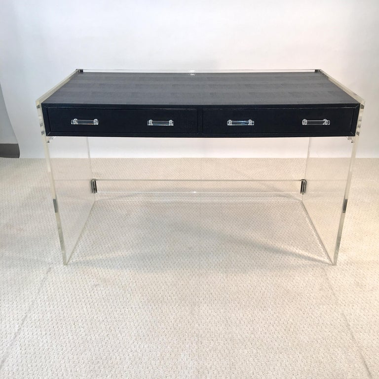 Wycombe Meyer 1970s Lucite and Black Lizard Writing Table and Chair In Good Condition For Sale In Hingham, MA