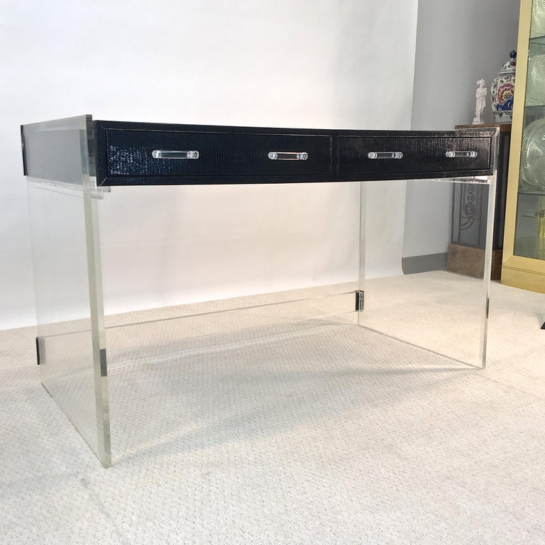 Wycombe Meyer 1970s Lucite and Black Lizard Writing Table and Chair For Sale 3