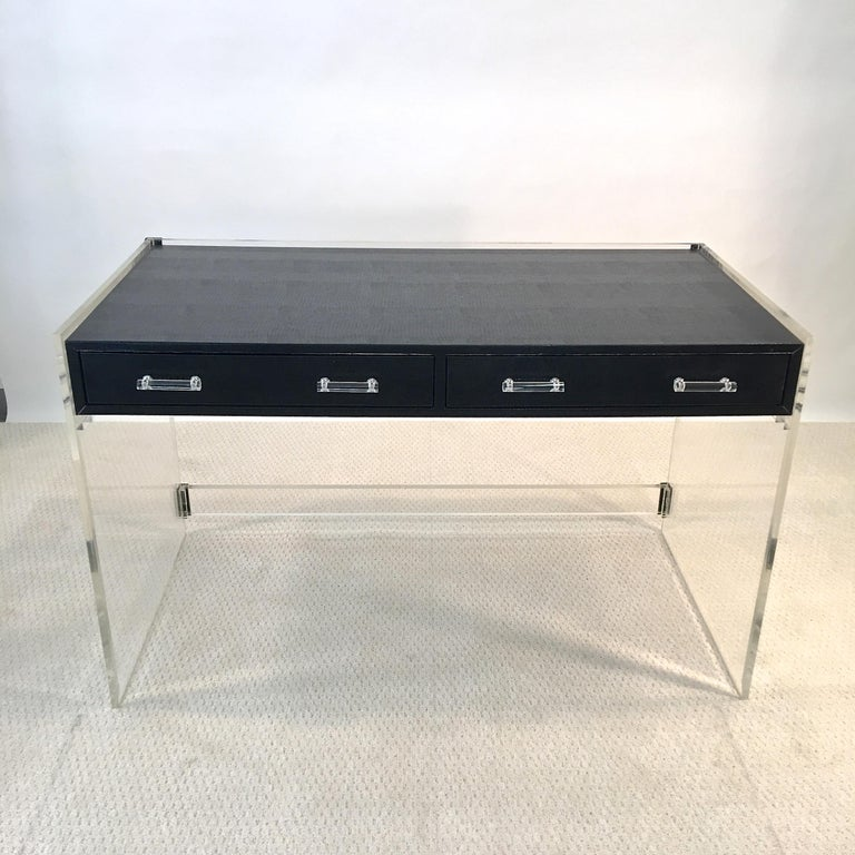 Wycombe Meyer 1970s Lucite and Black Lizard Writing Table and Chair For Sale 4