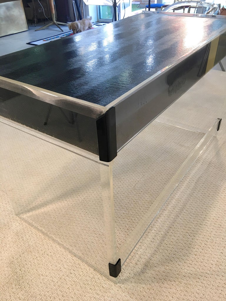 Wycombe Meyer 1970s Lucite and Black Lizard Writing Table and Chair For Sale 10